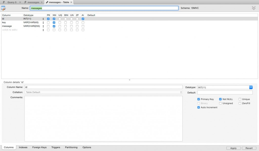 MySQLWorkbench create table