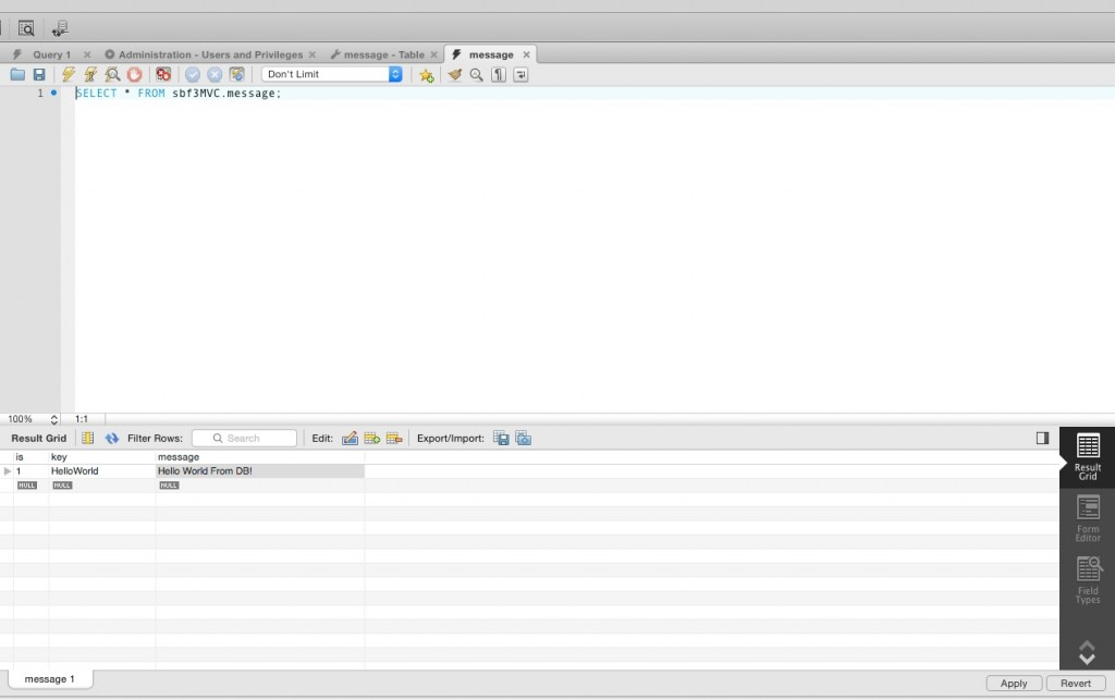 MySQLWorkbench edit table data
